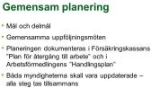 Planeringen dokumenteras i Försäkringskassans Plan för återgång till arbete och i Arbetsförmedlingens Handlingsplan Båda myndigheterna skall vara uppdaterade – alla steg tas tillsammans. Lärmål bild 10: Målet är att tydliggöra vikten av en tydlig struktur i den gemensamma planeringen. Att lägga grunden för ett arbetssätt som styrs av en tydlig målformulering som innehåller tydliga delmål. Syftet med övningen är att koppla vikten av planering med mål och delmål till ett fungerande samarbete. Till samtalsledaren: Vårt samarbete kommer att styras av den gemensamma planeringen som gjorts tillsammans med och utifrån kundens unika behov. Den gemensamma planeringen är det första steget som vi tar efter den avslutade gemensamma kartläggningen. Vi vet av erfarenhet att den här planeringen inte alltid görs tillsammans, att arbetsförmedlaren tillsammans med kund planerar de fortsatta åtgärderna ensamma för att sen rapportera resultatet till personlige handläggaren. Här är det viktigt att trycka på just vikten av att planeringen ska göras tillsammans kunden, personlige handläggaren och arbetsförmedlaren. Syftet med den gemensamma planeringen är att tillsammans utifrån vad som framkommit i den gemensamma kartläggningen definiera vad målet med den aktiva insatsen ska vara. Planeringen ska redan från början innehålla ett eller flera konkreta delmål. För att säkra att kunden får det stöd som planerats är det viktigt att ansvarsfördelningen och de konkreta delmålen är tydliga för alla parter. Planeringen dokumenteras i FK´s Plan för återgång i arbete och i AF´s handlingsplan. Det finns ingen gemensam planeringsmall men eftersom planeringen görs tillsammans vid samma tillfälle så säkerställer man att de är likalydande. FK och AF har ett gemensamt uppföljnings och utvärderingsansvar. För att kunna ta det ansvaret krävs en bra struktur i planeringen. Ett väl fungerande arbetssätt är att man innan varje uppföljningsmöte är slut så har man gemensamt bokat in nästa uppföljningsmöte och be