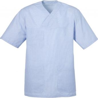 Halmstad kommun har på upphandling, för all personal, ljusblå tunika och mörkblå byxor. Kläderna är unisex och förväntas passa alla former.